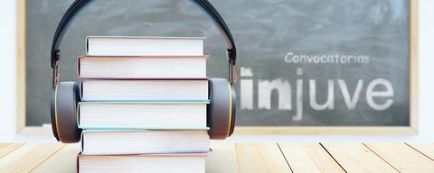 Book stack with headphones